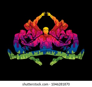 Group of people dancing, Dancer action, Street dance team, Hip hop or B boy dance graphic vector