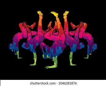 Group of people dancing, Dancer action, Street dance team, Hip hop or B boy dance graphic vector