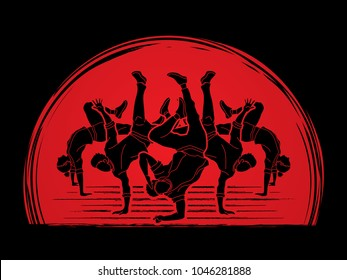 Group of people dancing, Dancer action, Street dance team, Hip hop or B boy dance designed on sunlight background graphic vector