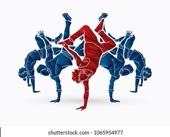 Group of people dancing, Dancer dance together, Street dance designed using grunge brush graphic vector