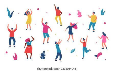 Group of  people dancing on dancefloor. Flat vector illustration isolated on white background.