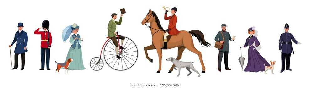 Group of people of different genders, professions in different clothes. British retro style people characters on white background. Flat cartoon characters set. Vector illustration.