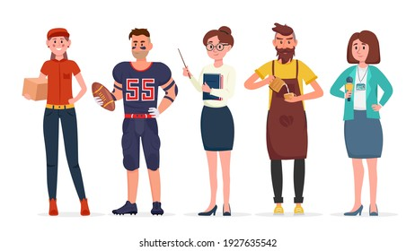 Group of people of different job professions. Courier, american football player, teacher, barista and journalist. Vector Illustration.