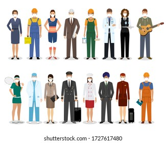 Group of people with different occupation wearing protection medical face mask to protect and prevent virus. Employment and labor day banner. Employee and workers characters. Vector illustration.