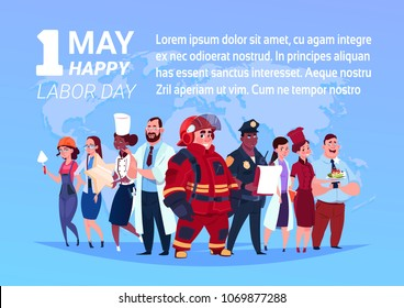 Group Of People Of Different Occupations Standing Over World Map Background Happy 1 May Labor Day Poster