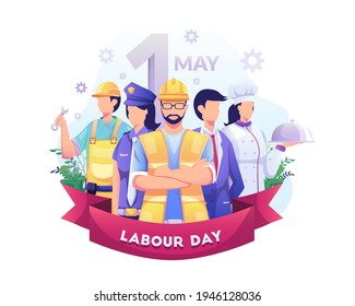 A Group Of People Of Different Professions. Businessman, Chef, Policewoman, construction workers. Labour Day On 1 May. vector illustration - Shutterstock ID 1946128036