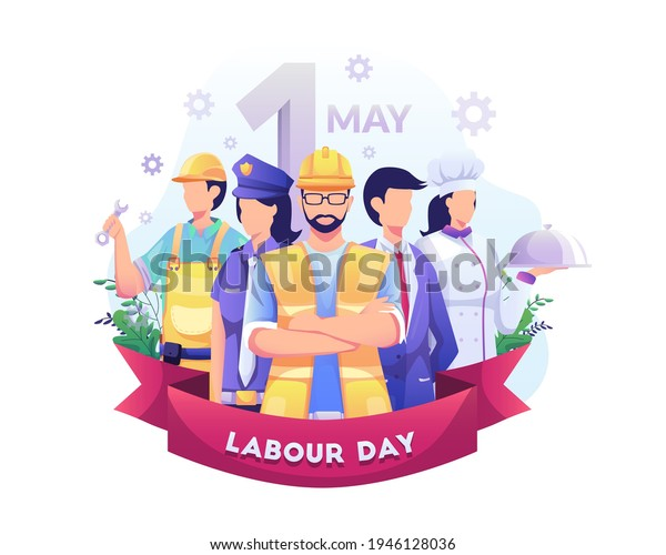 A Group Of People Of Different Professions. Businessman, Chef, Policewoman, construction workers. Labour Day On 1 May. vector illustration