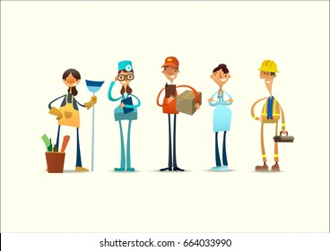 Group of people of different professions. Vector illustration.