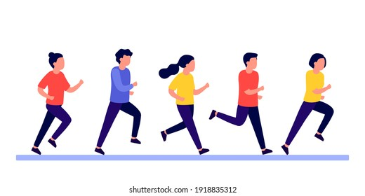 Group people do run sport active. Men and women running marathon race, jogging, racing. People training to competition, workout. Sport lifestyle, race winning concept. Vector illustration