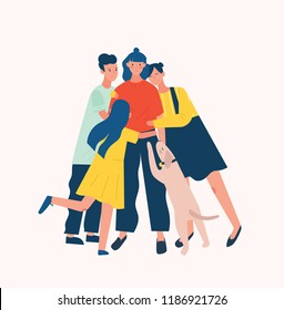 Group of people and dog surrounding and hugging or embracing young woman. Friends' support, care, love and acceptance. True friendship. Bright colored vector illustration in flat cartoon style.