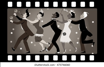 Group of people dressed in 1920s fashion dancing in a conga line in an old movie frame, EPS 8 vector illustration, no transparencies