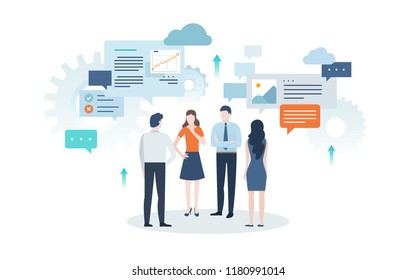 Group of people dressed in office clothes talking to each other against speech bubbles on background. Concept of business negotiation, conversation, discussion, teamwork. Flat vector illustration.