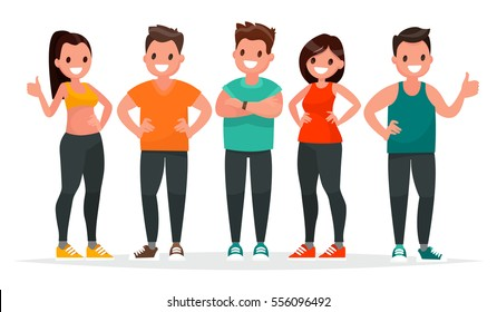 Group of people dressed in sports clothes to exercise in the gym on a white background. Vector illustration in  flat style