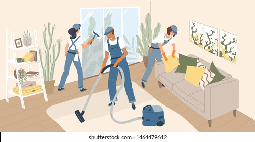 Group of people dressed in uniform making cleanup of room. Team of cleaning service workers, home cleaners or housekeepers vacuuming floor and washing window. Flat cartoon vector illustration.