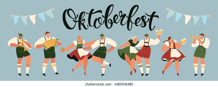 Group Of People Drink Beer Oktoberfest Party Celebration Man And Woman Wearing Traditional Clothes couples dance, musicians play. Fest Concept Flat Vector Illustration.