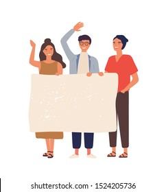 Group of people with empty banner flat vector illustration. Young students holding blank paper with place for text. Male and female smiling cartoon characters isolated scene.