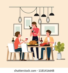 Group People Enjoying dinner with friends Thanksgiving, Christmas, Holidays ,Vector illustration