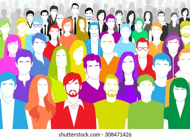 Group of People Face Big Crowd Diverse Ethnic Colorful Flat Vector illustration