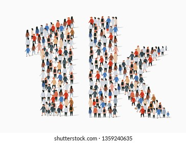Group of people in form of 1k sign. One thousand followers. Vector illustration