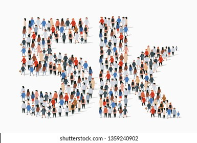 Group of people in form of 5k sign. Five thousand followers. Vector illustration