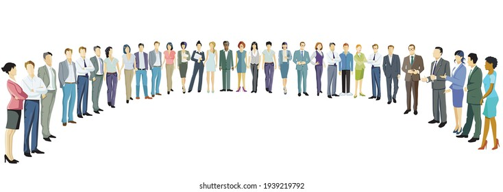 Group of people form a semicircle and discuss with each other