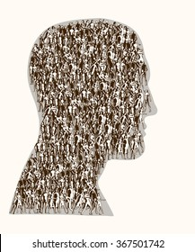 Group of people gathered together in the shape of a head.