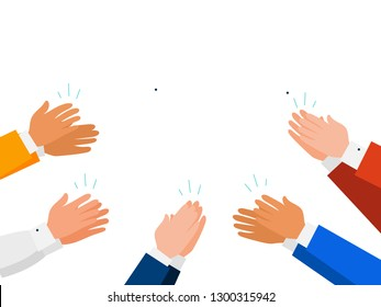 Group of people giving an applause. isolated on white background. Clapping human hands, vector illustration.