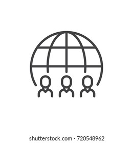 Group of people and globe line icon, outline vector sign, linear style pictogram isolated on white. Symbol, logo illustration. Editable stroke