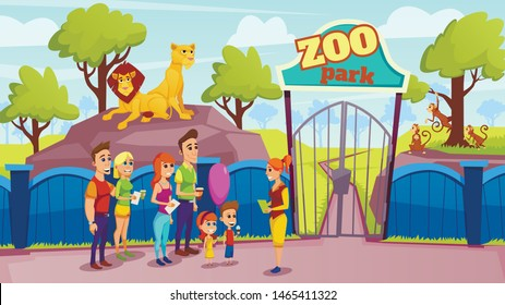 Group People and Guide at Zoo Gate. Animals in Aviary. Vector illustration. Excursion Zoo. Sunny Day. People and Animal in Captivity. Lions Sitting on Stone Behind Fence. Family with Children.