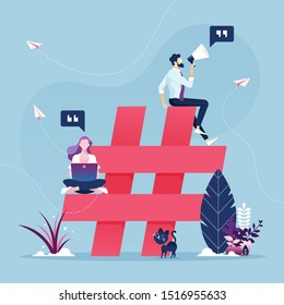 Group of people with hashtag icon-Social media marketing concept