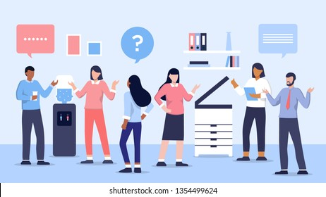 Group of people having conversation and drink water, office cooler chat vector illustration concept. Businessmen and businesswomen discuss social network, news, dialogue speech bubbles.