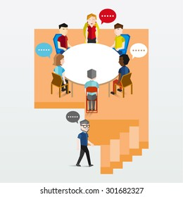 A group of people having discussion vector design