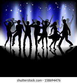 A group of people having a good time in disco. Crowd in-front of a stage. Vector