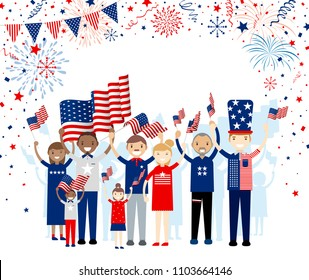 Group of people holding american flag with fireworks on white background USA 4th july independence day and other celebration