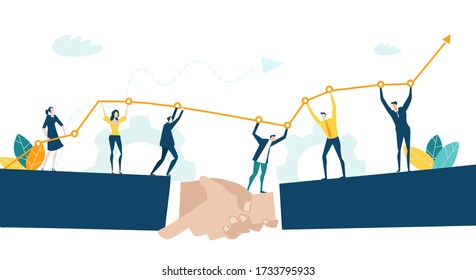 Group of people holding up arrow as symbol of success and working together.