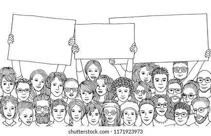 Group of people holding empty signs, black and white illustration