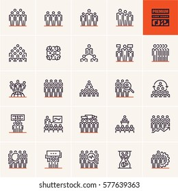 group of people icon, conference presentation icons, business people line icons vector set, human resources