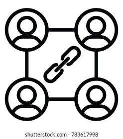 Group of people interlinked and a chain in the middle symbolising social cohesion