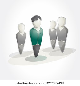 Group of people isometric icon. Business men. Pictogram style.