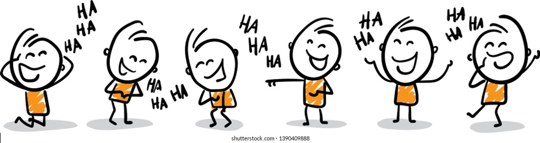 Group of people laughing - LOL -  isolated vector illustration outline hand drawn doodle line art cartoon design character.