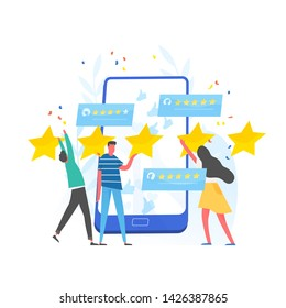 Group of people leaving five star rating and giant smartphone. Customer experience and satisfaction, positive feedback, product or service review and evaluation. Modern flat vector illustration.
