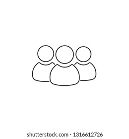 A group of people, like-minded people, a society, an ethnic group. Linear vector sign.