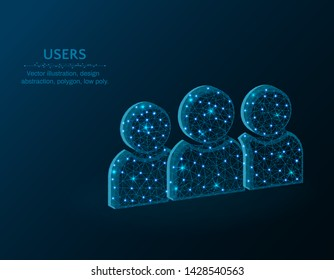 Group of people low poly design, development team abstract geometric image, users symbol wireframe mesh polygonal vector illustration made from points and lines on dark blue background