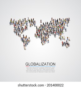 Group of people making a earth planet map shape. Globalization, population, social concept. World crowd. Vector illustration