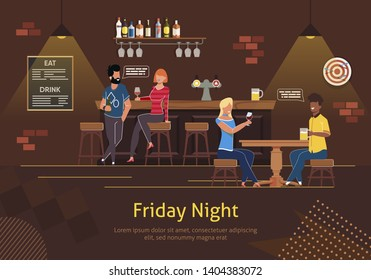 Group of People Man and Woman Sitting at Bar Counter, Drinking Alcohol, Talking Banner Vector Illustration. Bar Beer Tap Pump, Stools, Bottles. Friday Night with Friends or Colleagues.