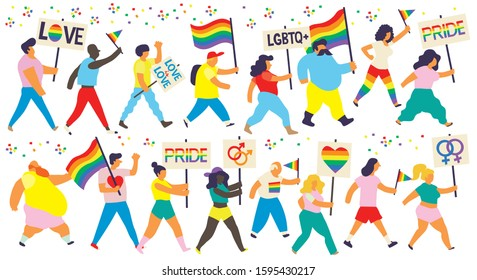 Group of people marching on a demonstration for Pride Day and LGTB rights Persons carrying rainbow flags and placards with pride messages supporting sexual diversity. Editable vector image
