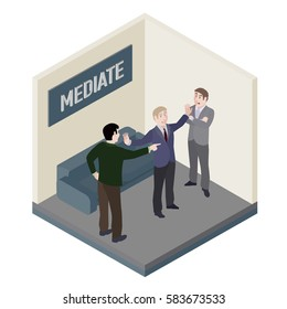 A group of people. Mediator and conflict people in mediation room. Vector, isometric, illustration