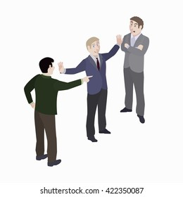 A group of people. Mediator and conflict people. Vector, isometric, illustration