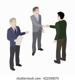 A group of people. Mediator and solution of conflict. Vector, isometric, illustration