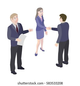 A group of people. Mediator and solution of conflict between man and woman. Vector, isometric, illustration